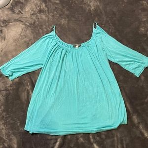 Blue open shoulder blouse